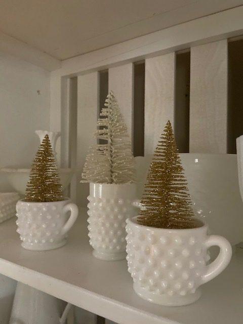 bottle brush trees in milk glass