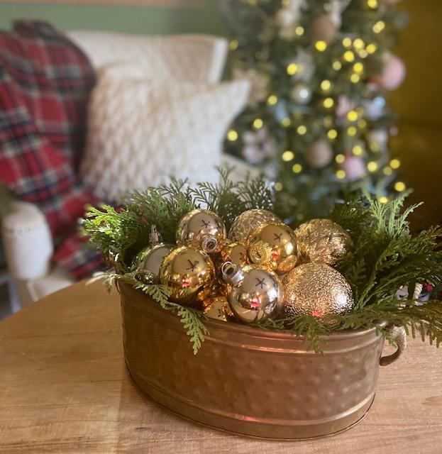 Vintage Christmas Ornaments displayed