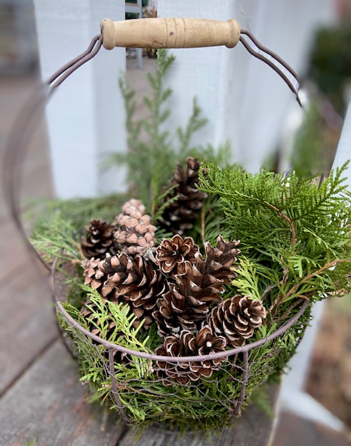 pinecone's in a basket