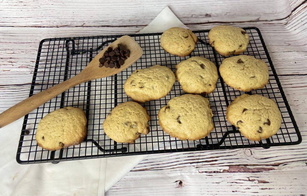 sourdough cookies cooling a wire rack