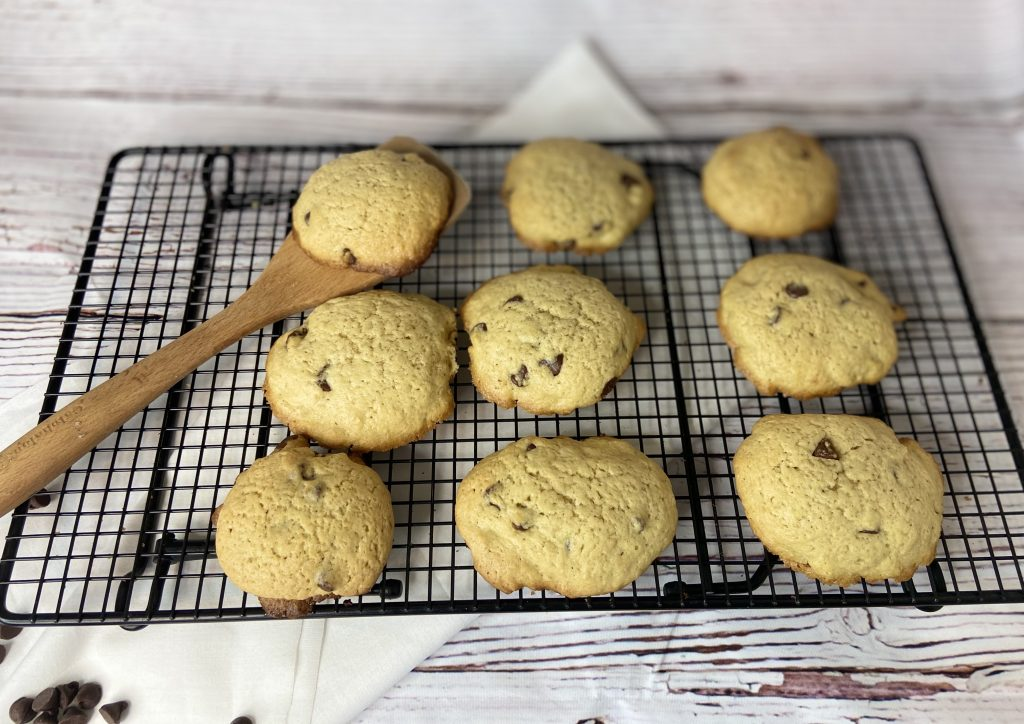 sourdough chocolate chip cookies on a cooling rack