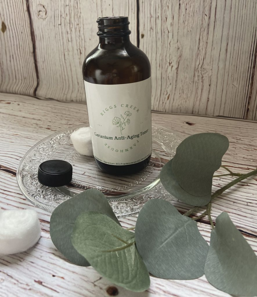 anti-aging homemade toner with a cotton ball