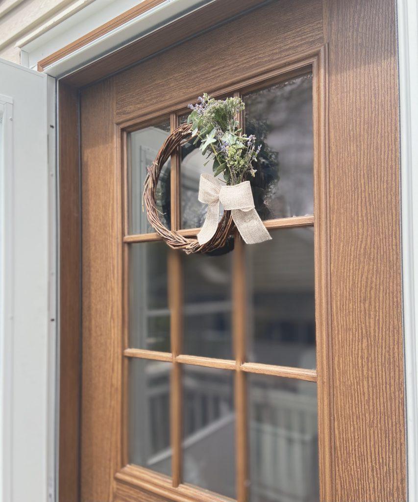 DIY Natural Spring Wreath on door