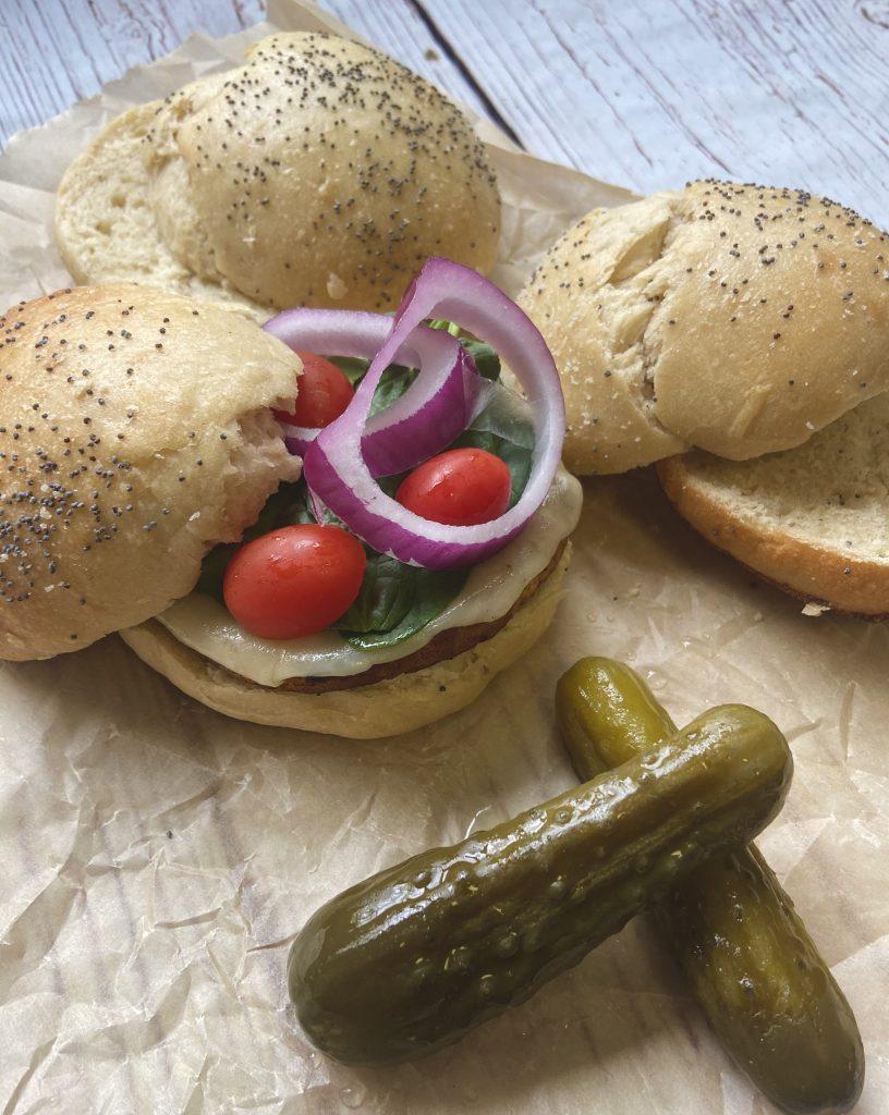 homemade sourdough hamburger buns