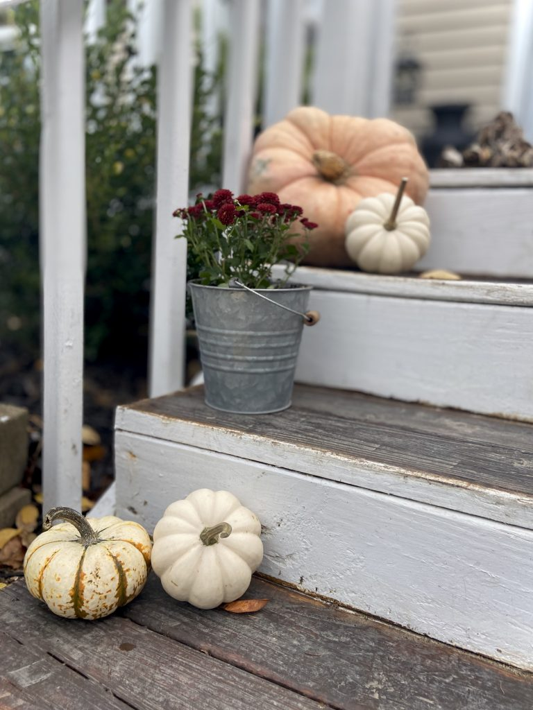 Decorate a Small Front Porch This Fall with pumpkins