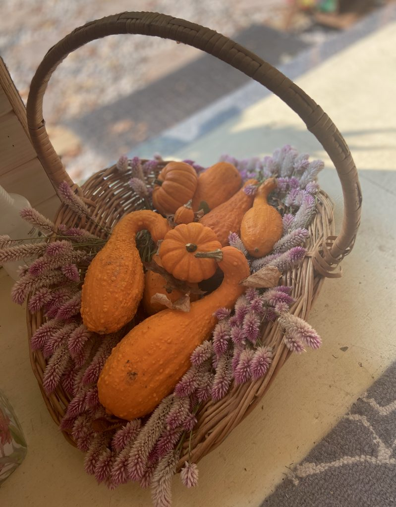 basket filled with lavender and gourds